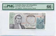 Colombia 1979-80 10 Pesos Oro Bank Note Gem Unc 66 EPQ PMG