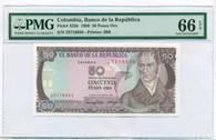 Colombia 1986 50 Pesos Oro Bank Note Gem Unc 66 EPQ PMG