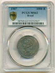 Brazil Silver 1907 1000 Reis MS62 PCGS Secure Color