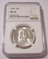 1958 Franklin Half Dollar MS64 NGC