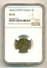 1864 Indian Head Cent Copper Nickel Variety VF35 NGC