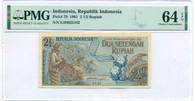 Indonesia 1961 2 1/2 Rupiah Note Ch Unc 64 EPQ PMG