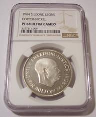 Sierra Leone 1964 Leone Copper Nickel Proof PF68 UC NGC Low Mintage