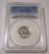 1963 Roosevelt Dime DDR Variety FS-804 Proof PF67 PCGS