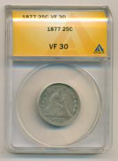 1877 Seated Liberty Quarter VF30 ANACS