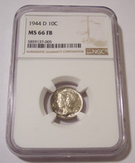 1944 D Mercury Dime MS66 FB NGC Toning