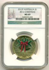 Australia 2012 P Dollar Christmas MS69 NGC