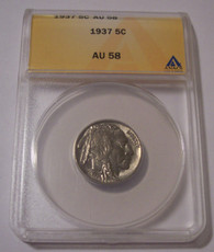 1937 Buffalo Nickel AU58 ANACS