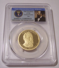 2011 S James Garfield Presidential Dollar Proof PR70 DCAM PCGS Portrait Label