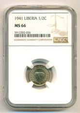 Liberia 1941 1/2 Cent Elephant MS66 NGC