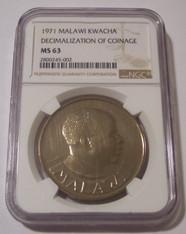 Malawi 1971 Kwacha Decimalization of Coinage MS63 NGC Low Mintage