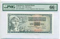 Yugoslovia 1978 1000 Dinara Bank Note Gem Unc 66 EPQ PMG