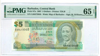 Barbados 2007 5 Dollars Bank Note Gem Unc 65 EPQ PMG