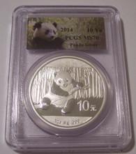 China 2014 Silver 10 Yuan MS70 PCGS Panda Label
