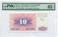 Bosnia - Herzegovina 1992 10 Dinara Bank Note Gem Unc 65 EPQ PMG