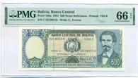 Bolivia 1981 500 Pesos Bolivianos Bank Note Gem Unc 66 EPQ PMG