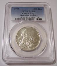 Czech Republic 1998 Silver 200 Korun Frantisek Palacky MS68 PCGS Low Mintage