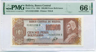 Bolivia 1984 100,000 Pesos Bolivianos Bank Note Gem Unc 66 EPQ PMG