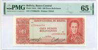Bolivia 1962 100 Pesos Bolivianos Bank Note Gem Unc 65 EPQ PMG