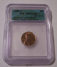 1969 S Lincoln Memorial Cent Triple Clip Error MS62 RB ICG