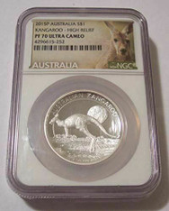 Australia 2015 P 1 oz Silver Dollar Kangaroo High Relief Proof PF70 UC NGC Low Mintage