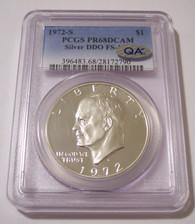 1972 S Eisenhower Silver Dollar DDO Variety FS-101 Proof PR68 DCAM PCGS QA Check Sticker