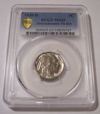 1938 D Buffalo Nickel Overmintmark Variety FS-515 MS65 PCGS