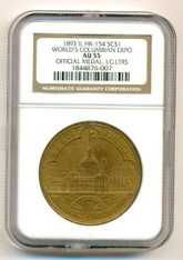 1893 World's Columbian Expo So-Called Dollar Medal HK-154 Large Letters AU55 NGC
