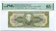 Brazil 1964 5 Cruzeiros Bank Note Gem Unc 65 EPQ PMG