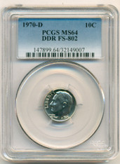 1970 D Roosevelt Dime DDR Variety FS-802 MS64 PCGS