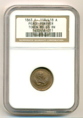 Civil War Patriotic Token 1863 Peace Forever F-118/418a R2 MS65 BN NGC