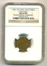 Civil War Patriotic Token 1861-65 Tradesmens Currency F-202/434a MS64 BN NGC