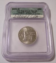 2001 D New York State Quarter (Unirculated) ICG Coin Designer Daniel Carr Signed Label