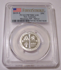2019 S Silver San Antonio Missions NP Quarter Proof PR70 DCAM PCGS First Strike