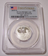2019 S Silver American Memorial NP Quarter Proof PR70 DCAM PCGS First Strike