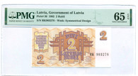 Latvia 1992 2 Rubli Note Gem Unc 65 EPQ PMG