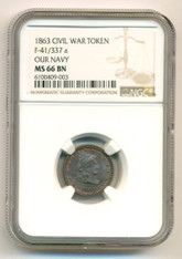 Civil War Patriotic Token 1863 Our Navy F-41/337a R2 MS66 BN NGC