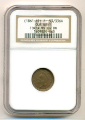Civil War Patriotic Token (1861-65) Our Navy F-53/336a MS66 BN NGC