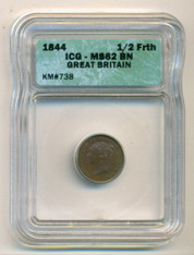 Great Britain Victoria 1844 1/2 Farthing  MS62 BN ICG
