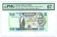 Zambia 1980-88 10 Kwacha Bank Note Superb Gem Unc 67 EPQ PMG