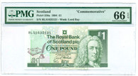Scotland 1994 1 Pound Commemorative Bank Note Gem Unc 66 EPQ PMG