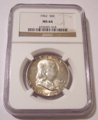 1962 Franklin Half Dollar MS64 NGC Toning