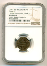 Civil War Token (1861-65) Brooklyn NY Daniel Williams - Grocer F-95F-3a R6 MS66 BN NGC