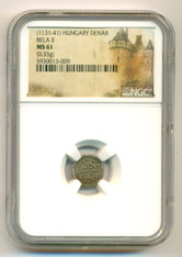 Hungary - Middle Ages - Bela II (1131-41) Silver Denar MS61 NGC