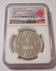 Canada 1978 Silver Dollar Commonwealth Games SP68 NGC Maple Leaf Label