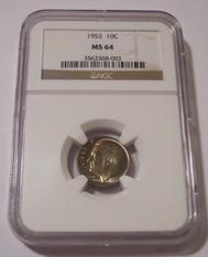 1952 Roosevelt Dime MS64 NGC Toned