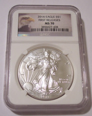 2014 1 oz Silver Eagle Dollar MS70 NGC First Releases - Eagle Label