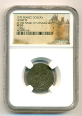 France Henry III 1575 Douzan - In the Name of Charles IX VF30 NGC