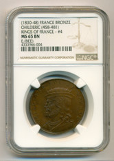 France (1830-48) Medal - Kings of France Series by Caque #4 Childeric MS65 BN NGC