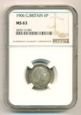 Great Britain Edward VII 1906 Silver 6 Pence MS63 NGC